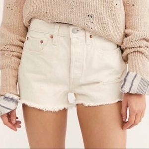 Levi's 501 White Distressed Hi Rise Button Fly -26